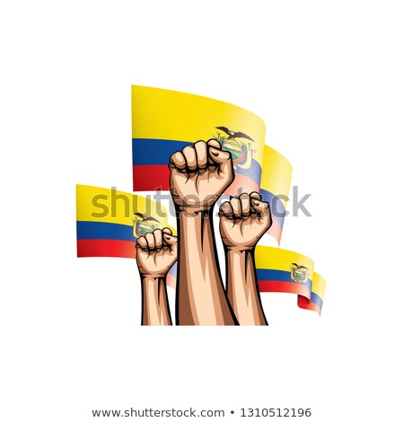 Ecuador flag and hand on white background. Vector illustration Stock photo © butenkow