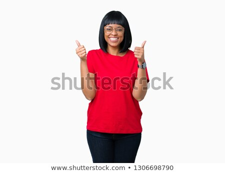 Woman in glasses showing okay gesture Stock photo © deandrobot