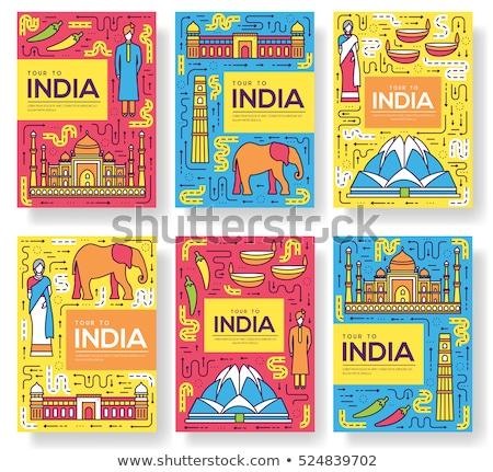 Indian Landmark, Taj Mahal and Saree, India Vector Stock photo © robuart