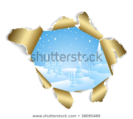 hole in paper into the winter snowy landscape stock photo © hermione