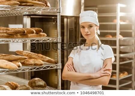 mulher · jovem · padaria · mão · pão · mercado · armazenar - foto stock © Paha_L