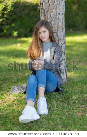 Foto d'archivio: Bella · giovane · ragazza · parco · bella · autunno · giorno