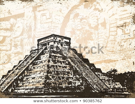 Antique Mayan Pyramid and Glyphs  Stock photo © dayzeren