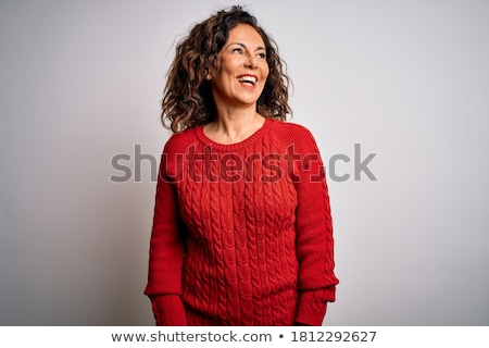 Excited winter woman looking to side Stock photo © Maridav