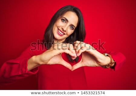 belo · sorrindo · vermelho · coração · branco · mão - foto stock © Rob_Stark