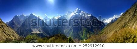 синий · гор · желтый · холмы · небе · весны - Сток-фото © photocreo