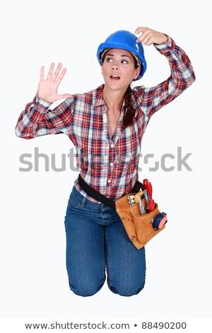 Női építőmunkás csapdába esett láthatatlan doboz lány Stock fotó © photography33