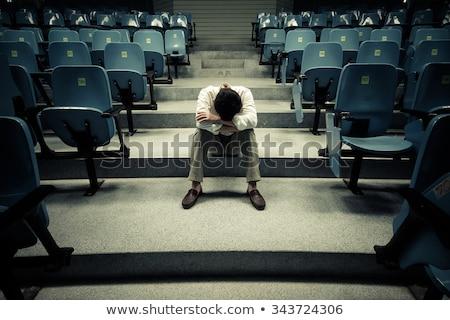 smutne · człowiek · pustym · pokoju · strony · twarz · biznesmen - zdjęcia stock © backyardproductions