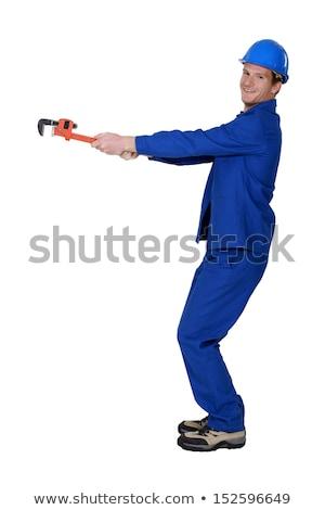 Handlowiec rury klucz niewidoczny obiektu człowiek Zdjęcia stock © photography33
