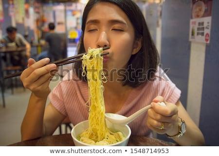 девушки · палочки · для · еды · красивой · азиатских · платье - Сток-фото © carlodapino