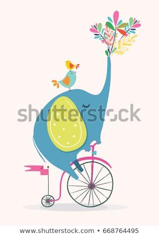 かわいい 象 自転車 幸せ 背景 手紙 ストックフォト © Lenlis