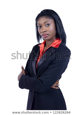 Portrait of a beautiful businesswoman posing with the arms crossed against a white background stock photo © wavebreak_media