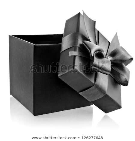 Siyah beyaz hediye kutuları yalıtılmış beyaz doğum günü arka plan Stok fotoğraf © ozaiachin