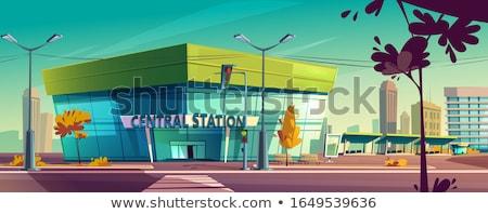 Minibus bus parkeren kant van de weg kant landelijk Stockfoto © eldadcarin