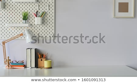 Colorful pencils wall on empty white background stock photo © make