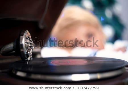 csinos · nő · gramofon · gyönyörű · nő · izolált · fehér · zene - stock fotó © aikon