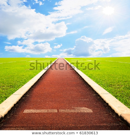 perspective of cinder running track at the sport stadium Stock photo © taviphoto