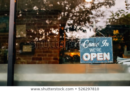 オープン · 家 · 道路標識 · 実例 · 白 · ビジネス - ストックフォト © zzve