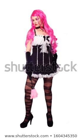 full length of cabaret woman in retro dress stock photo © stepstock