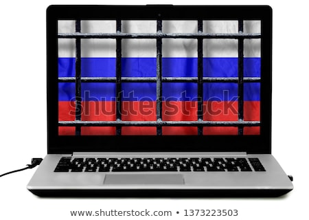 Laptop behind bars. online crime concept Stock photo © alexmillos
