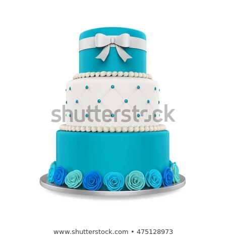 üç · düğün · pastası · beyaz · buzlanma · gıda · pembe - stok fotoğraf © gsermek