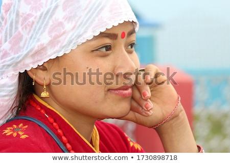 Kadın geleneksel koyu esmer kırmızı elbise gül Stok fotoğraf © pxhidalgo