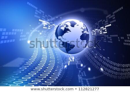 America Data Background - Binary Code Technology Stream with Glo Stock photo © fenton