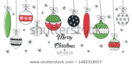 christmas · ornament · groene · snuisterij · sneeuw · achtergrond - stockfoto © Tomjac1980