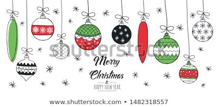 Foto d'archivio: Natale · ornamento · verde · gingillo · neve · sfondo