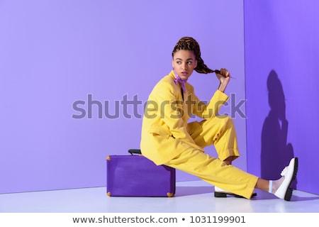 Mode meisje koffer reis sexy haren Stockfoto © Aleksa_D