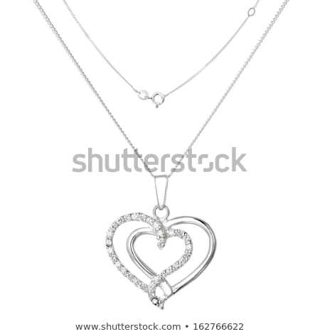 heart shaped diamond necklace isolated on white stock photo © gsermek