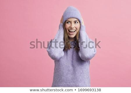 積極 冬天 女孩 毛皮 帽子 商業照片 © Kor