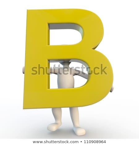 3D Human character holding yellow letter B Stock photo © Giashpee