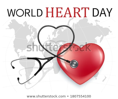 Blanco mapa del mundo corazón cardiograma rojo ordenador Foto stock © sdmix