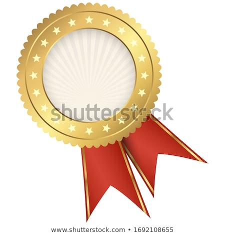 Aranyérem vörös szalag címke nyertes év piros Stock fotó © liliwhite