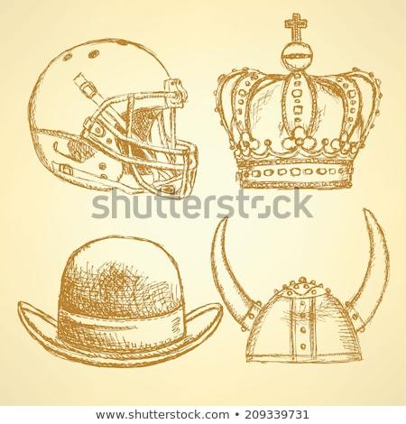 Schets viking helm kroon voetbal hoed Stockfoto © kali