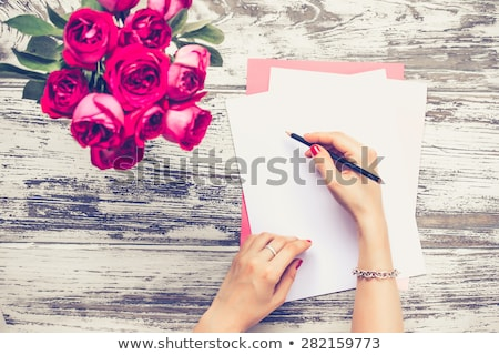 retro hipster girl working with papers stock photo © zebra-finch