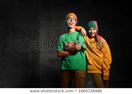 retrato · feliz · sonriendo · nino · CAP · mirando - foto stock © meinzahn