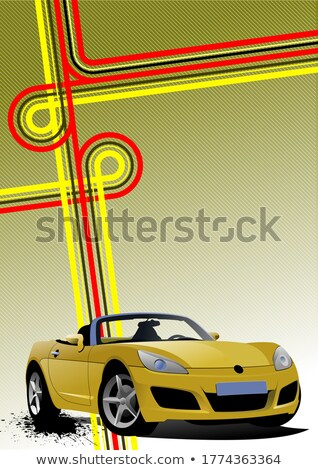 Cover for brochure with junction and yellow cabriolet image. Vec Stock photo © leonido