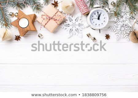Tatil kar taneleri dekorasyon şerit noel baba kırmızı Stok fotoğraf © jeliva