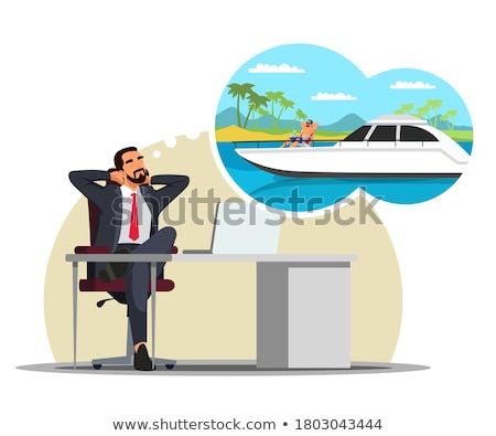 cartoon manly sailor man with thought bubble Stock photo © lineartestpilot