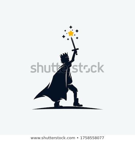 Kicsi herceg jelmez kard fiú tart Stock fotó © maros_b
