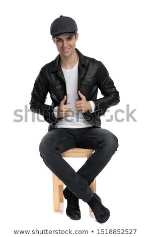 カジュアル · 男 · 座って · 髪 · 小さな - ストックフォト © feedough