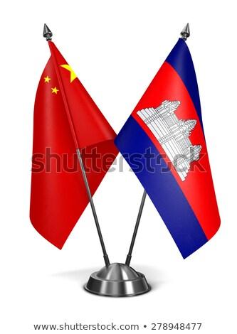 China Cambodja miniatuur vlaggen geïsoleerd witte Stockfoto © tashatuvango