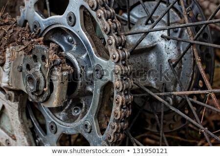 Enduro motorbike wheel and chain. Closeup shot Stock photo © papa1266