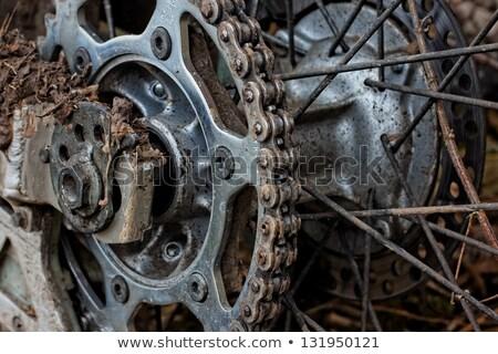 enduro motorbike wheel and chain closeup shot stock photo © papa1266