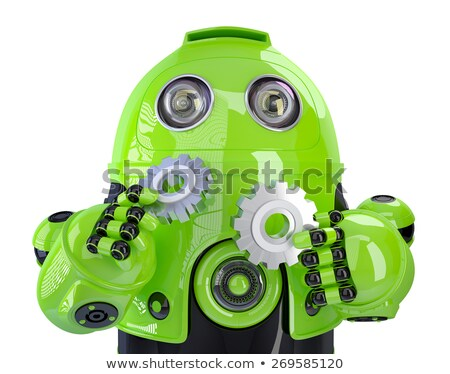 green robot with gears isolated contains clipping path stock photo © kirill_m