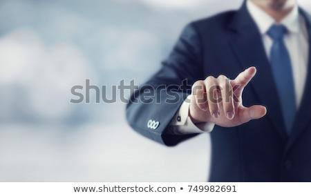 Zdjęcia stock: Człowiek · biznesu · wyimaginowany · przycisk · strony · człowiek