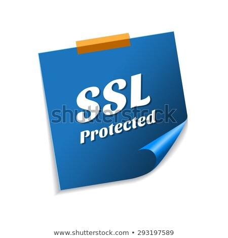 SSL Protected Blue Sticky Notes Vector Icon Design Stock photo © rizwanali3d