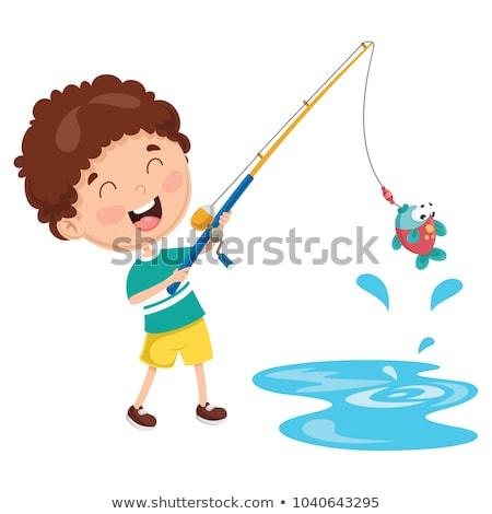 Gyermek halászat illusztráció víz hal természet Stock fotó © adrenalina